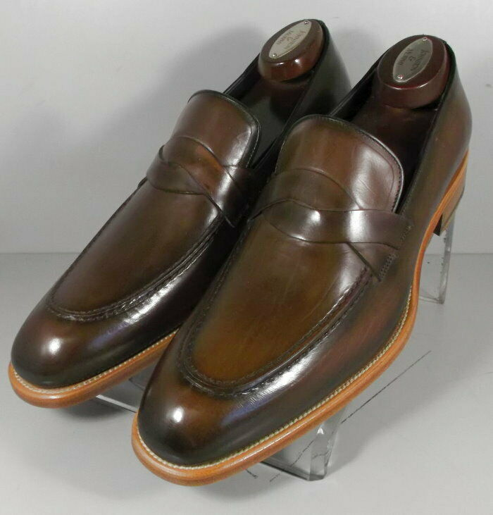 243046 SPi60 Chaussures Hommes Taille 9 M marron en cuir MADE IN ITALY Johnston & Murphy