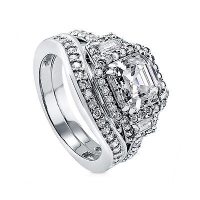 Fine Jewellery Diamond 4.01ct Solitaire Diamond Wedding Band Set 14k White Gold Brilliant Cut Vvs1/d Bright Luster