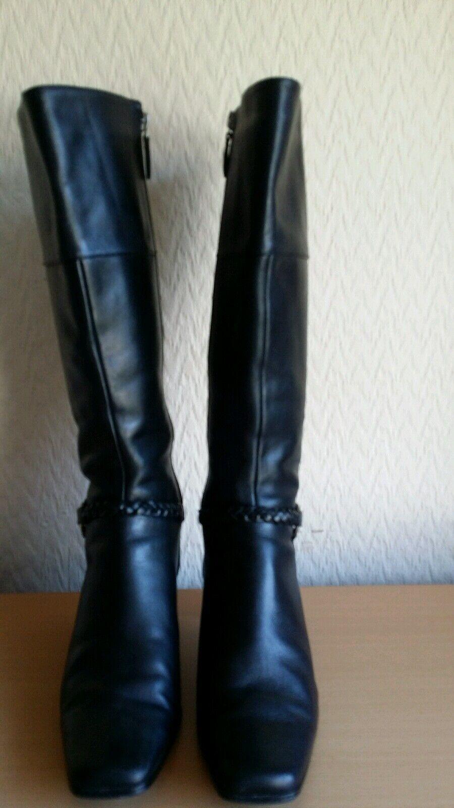 Marks and Spencer Spencer Spencer Mujeres Cuero Negro botas Hasta La Rodilla Talla UK 6 EU 39.5  el mejor servicio post-venta