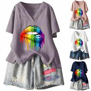 Women's Short Sleeve Blouse Shirt Ladies V Neck Summer Tunic T-shirt Tops Casual