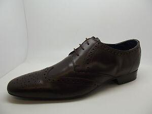 Nuevo-Para-Hombre-Elegante-Cuero-Marron-Oscuro-Brogues-la-punta-del-ala-Zapato-Bajo-De-Cuero-Zapatos