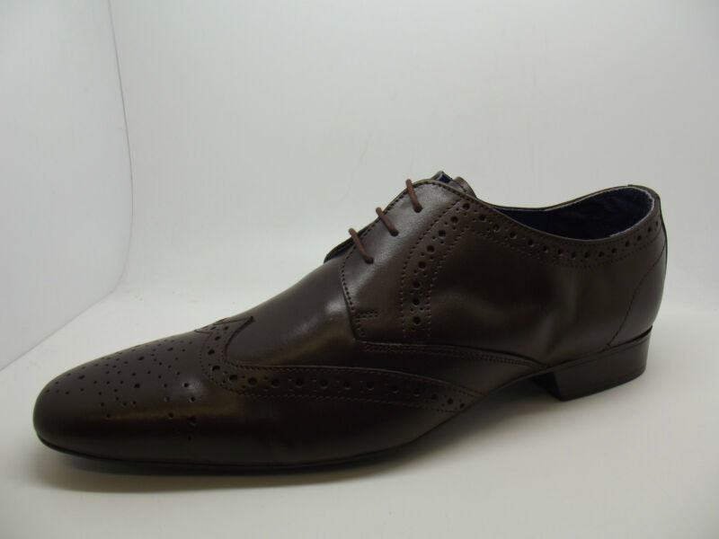 New Mens Stylish Dark Brown Leather Brogues Wingtip Brogue Shoes Work 7 - 12
