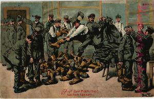 AK-Kuenstlerkarte-Kuenstler-A-Thiele-Auf-der-Kammer-Sachen-fassen-1918-19-10