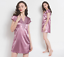 Women Satin Sleepwear Dress V-Neck Short Sleeve Nightgown Lace Sleep Lingerie