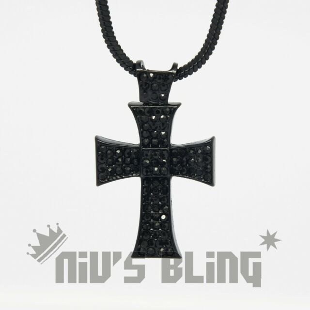 Jet Black MINI CROSS JESUS Square Snake Chain Iced Out Pendant Hip Hop Necklace