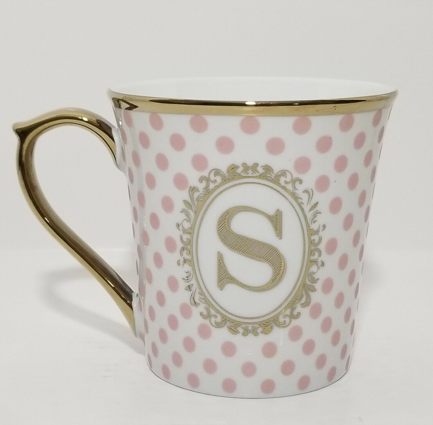 Pink and chartreuse mug with gold handle