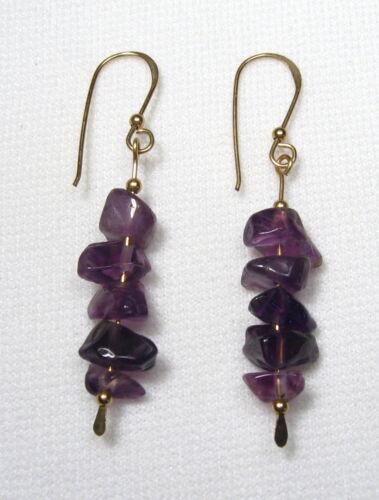 Lyns Jewelry Amethyst Drop Earrings Silver /& Gold