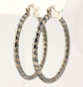 Hoop-Earrings-Sterling-Silver-Pierced-Women-039-s-Fine-Polished-Textured-Estate