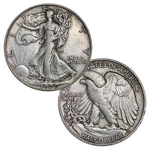 1-Face-90-Silver-Walking-Liberty-Half-Dollar-Circulated-Two-Coins