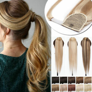 100-Real-Human-Hair-Ponytail-Clip-In-Remy-Wrap-Around-Pony-Tail-Blonde-UK-Sale