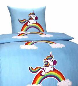 4 Tlg Kinder Bettwäsche 135x200 Einhorn Mikrofaser Regenbogen Bezug
