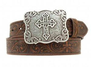 Nocona Western Womens Belt Leather Embossed Cross N3483802