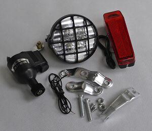 BICYCLE BIKE LAMP DYNAMO LIGHT LED SET CYCLE SAFETY ...