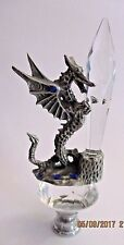 WOW  WOW! Gorgeous Majestic Dragon Pewter Crystals Glass Lamp Finial Large Rare