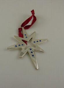 silver-plated-Harvey-Lewis-swarovski-blue-crystals-Christmas-star-Ornament-xmas