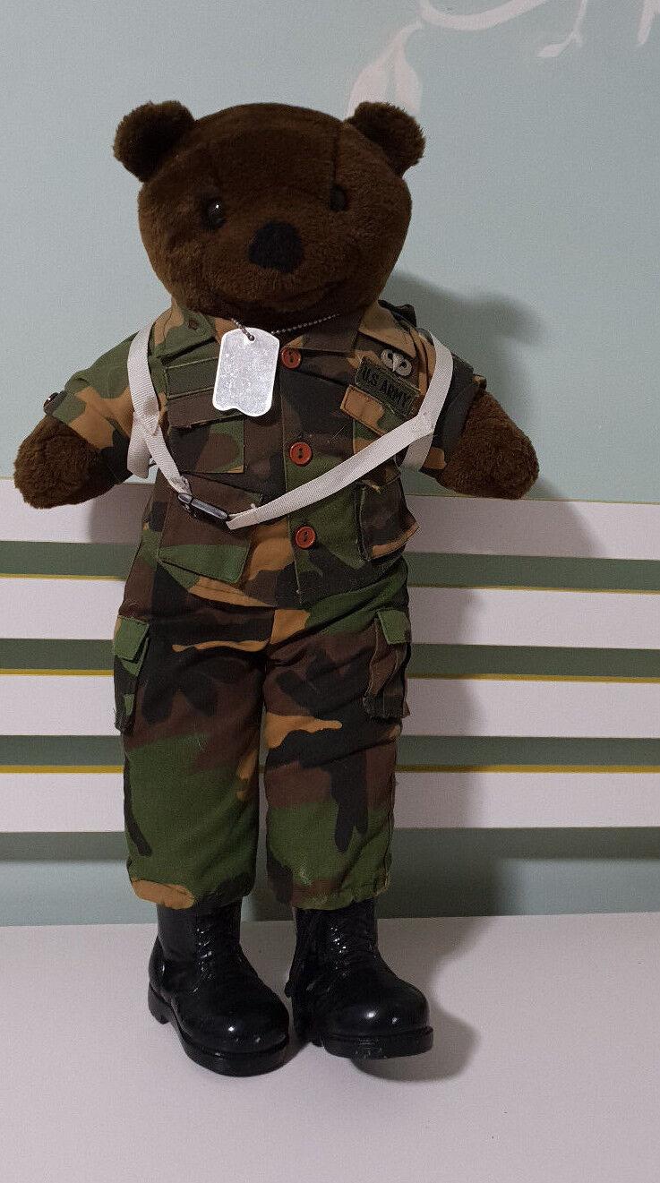 BEAR FORCES OF AMERICA TEDDY BEAR PLUSH Spielzeug weich Spielzeug ARMY WITH Hund TAGS 55CM