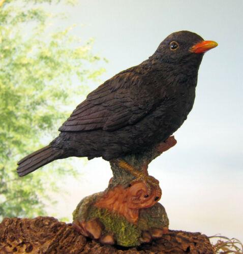 Amsel Vogel Drossel H:19cm Figur Deko Skulptur Hotant Wald natürlich Wild Garten