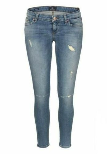 LTB Mina Super Slim Jeans Damen Stretch Skinny Destroyed Hose Light Blue Used