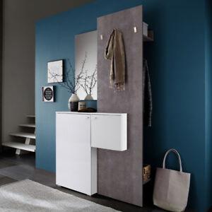 Flurmöbel garderobe zara 1 kleiderhaken weiß melamin und betonoptik flurmöbel