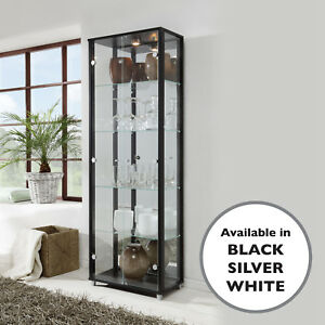 Image Is Loading HOME Double Glass Display Cabinet White Black Silver