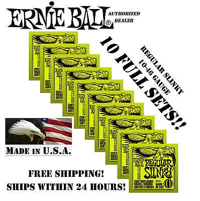 10 pack ernie ball regular slinky 10 46 electric guitar strings 2221 10 sets 749699122210 ebay. Black Bedroom Furniture Sets. Home Design Ideas