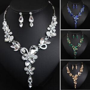 Luxury-Flower-Crystal-Women-Chain-Pendant-Jewelry-Bridal-Necklace-Earrings-Sets