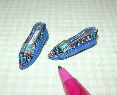 Dolls Cobbler Artisan Blue Brocade Flats Shoes Slippers 1:12 Dollhouse Miniature