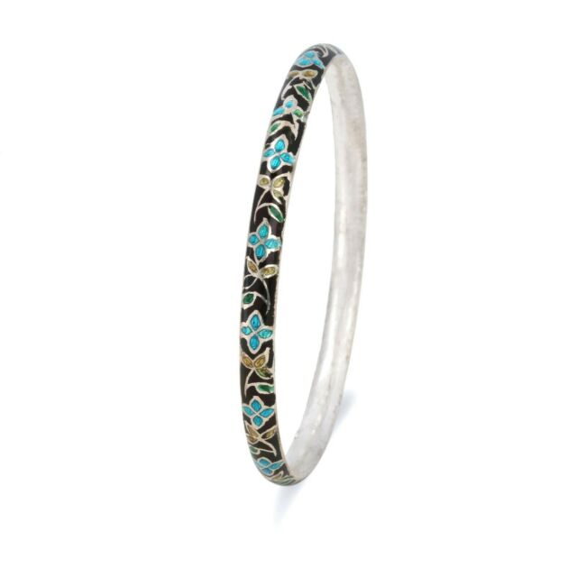 NEW ARRIVAL 925 solid Sterling Silver Handmade Enamel Work Bangle Free Shipping