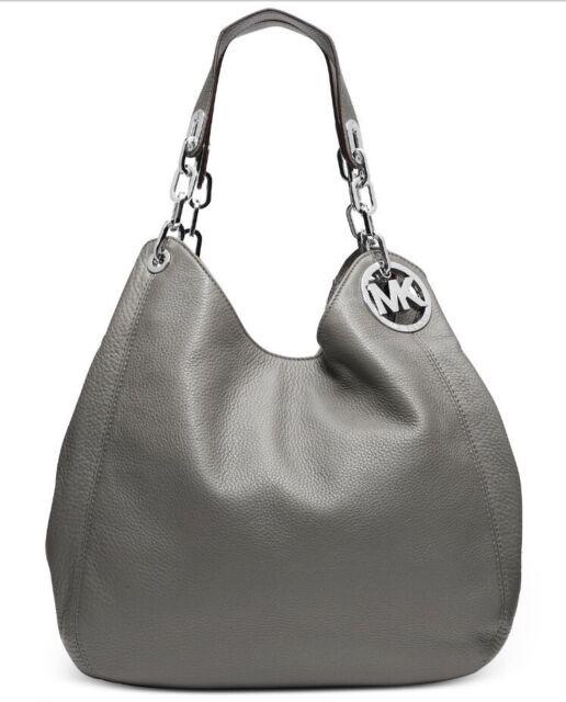 Michael Kors Fulton Pearl Grey Large Hobo Shoulder Bag Tote
