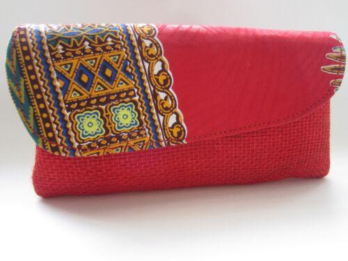 Flap Clutch Ladies con African Elegante pattern Red Red Zambia wSqptn0C