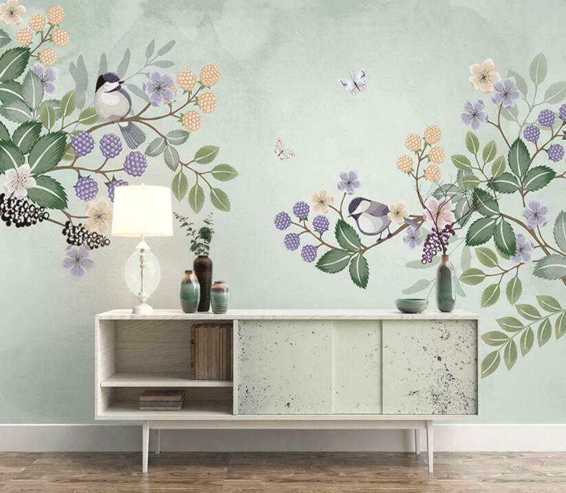 3D Blaume Pflanze H1384 Tapete Wandbild Selbstklebend Abnehmbare Aufkleber Wend