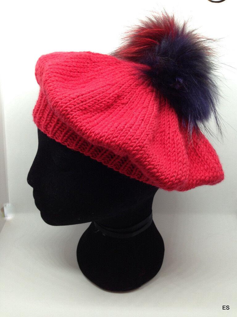 Merino Mütze Echtfell Bommel Mütze Aus 100% Merino Wintermützen Burgundy Rot Hüte & Mützen Damen-accessoires
