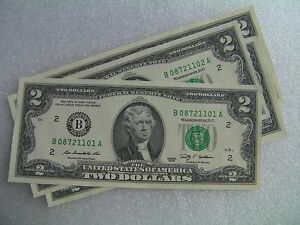 $2 bill two dollar bank note Federal Reserve USA Uncirculated 2009 Series G