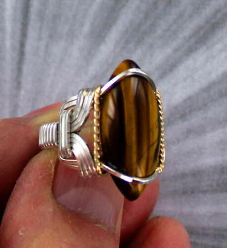 TIGER EYE  GEMSTONE RING STERLING SILVER SIZE 5 TO 15 WIRE WRAPPED