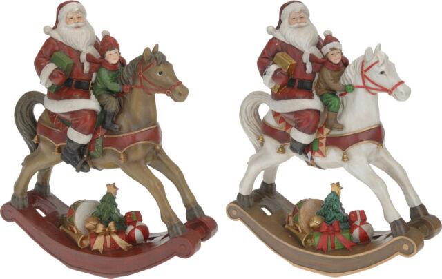 Large Victorian Style Rocking Horse Santa on Christmas Rocking Horse