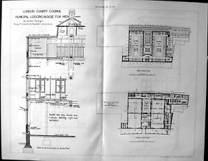 Old-Builder-1891-Architecture-Plan-London-County-Council-Municipal-Lo-19th