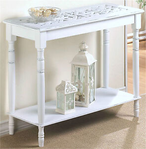 NEW WOOD SHABBY CHIC WHITE TABLE HOME DECOR HALL END OF BED DI