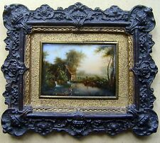 MINIATURE FARM WITH POND FIGURES & LIVESTOCK HENRI GOBERT FRENCH SCH OIL C1850