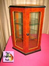 "Silvestri Tabletop Curio Display Cabinet 12"" Wood Hexagon w 2 Glass Shelves USA"