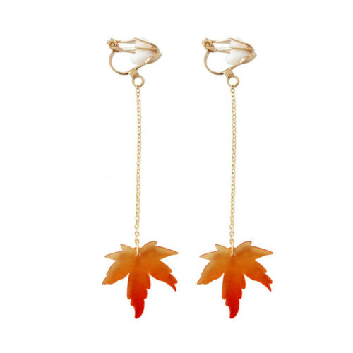 Thanksgiving day Fall Autumn Tree Maple Leaf Hook Clip Up Long Earrings Jewelry