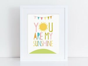 Image Is Loading You Are My Sunshine Nursery Print Wall Art