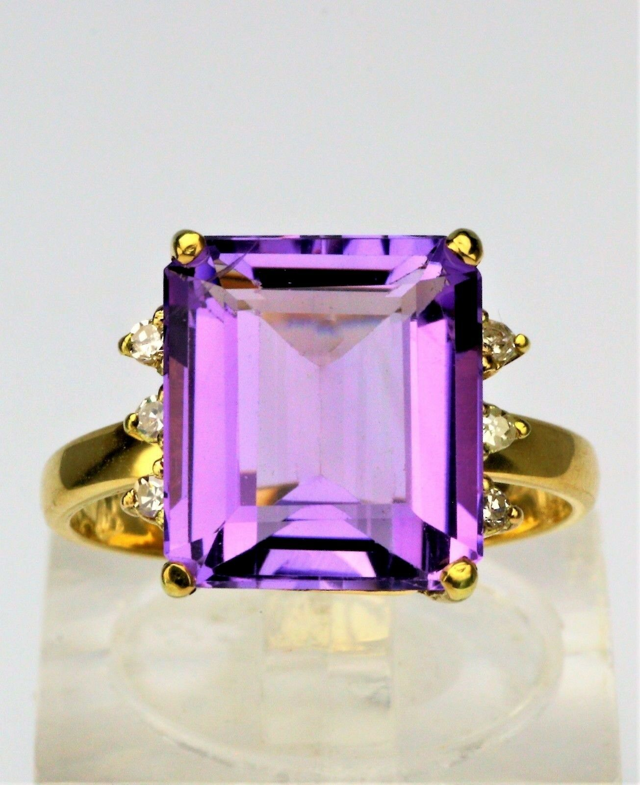 18K Yellow gold Emerald Cut Amethyst Diamond Accent Ring Vintage
