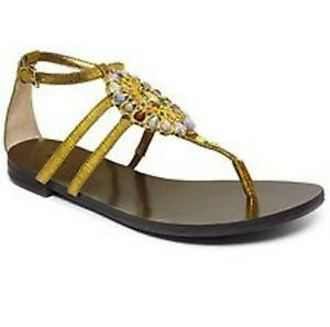 57707b53229 Image is loading NINE-WEST-Flybuy-Gold-Fabric-Rhinestone-Thong-Sandals-