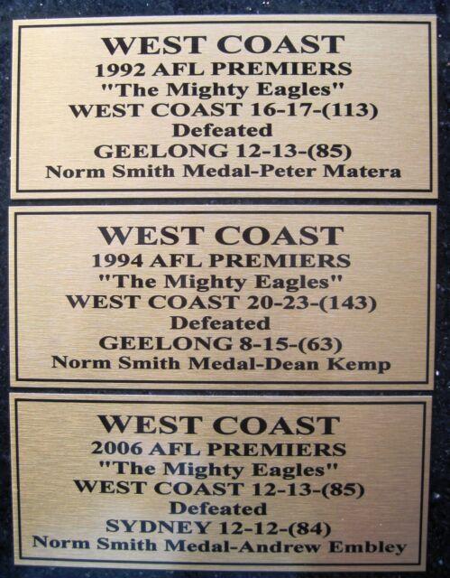 West Coast Eagles 1992-1994-2006 Grand Final Plaques Gold  Plaque F/Post