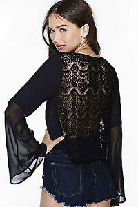 Maglia-maglietta-scollo-aperta-Trasparente-Svasata-T-shirt-Mesh-Lace-Blouse-Top