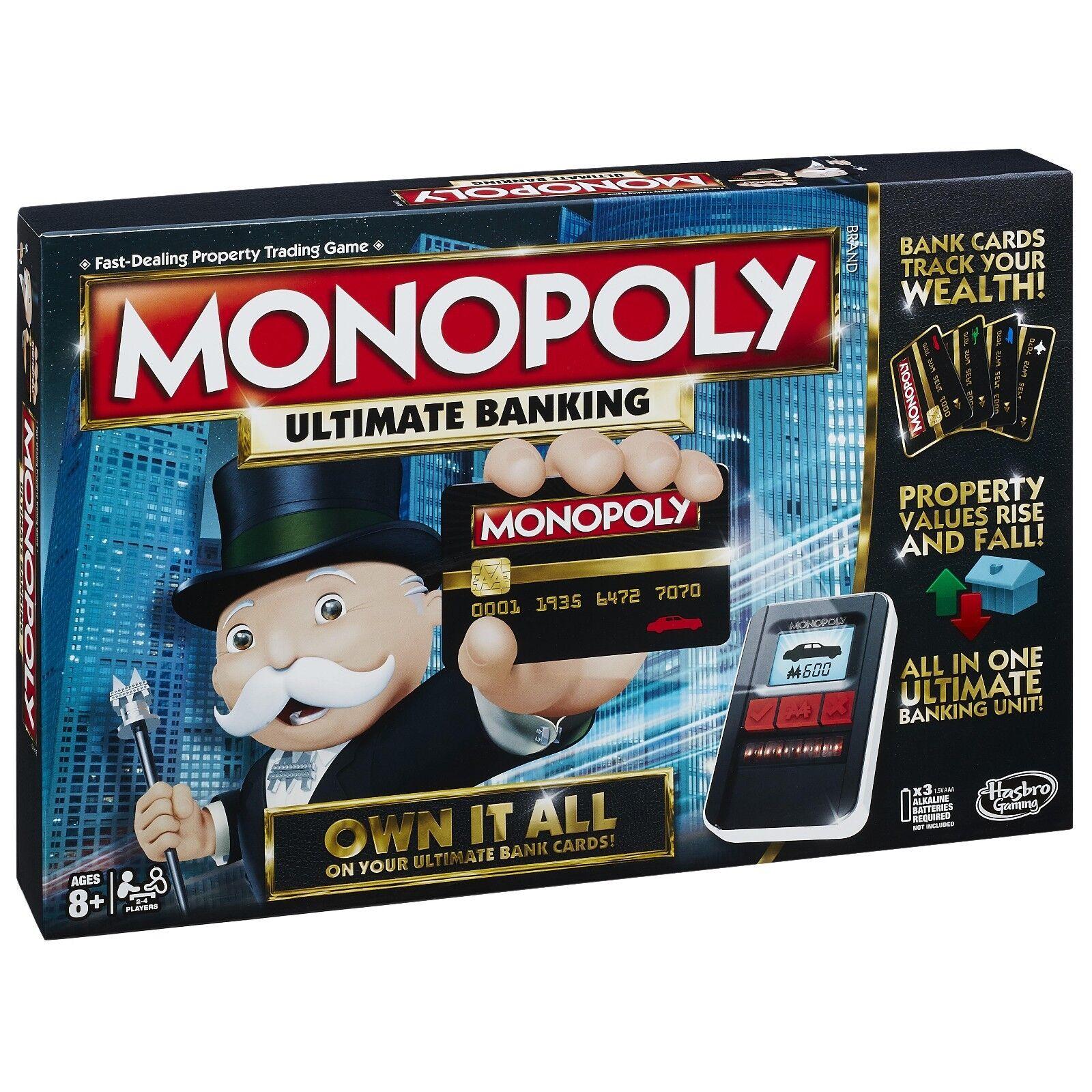 GIOCO da tavolo 2-4 giocatori Monopoly banking Indoor ULTIMATE GIOCO età 8+