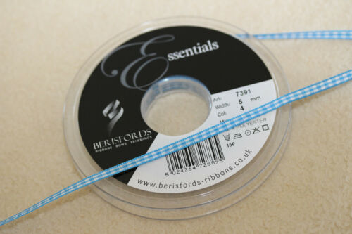 Berisfords 7391 Gingham PEACOCK TURQUOISE BLUE Colour 4 Ribbon Small Check 5mm