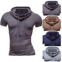 Fashion Mens Stylish Slim Fit Muscle Tee Hooded Hoodie T Shirt Short Sleeveless