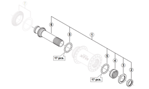 Shimano HB-M978 BUJE DELANTERO COMPLETO 15x100mm MTB Eje, Conos, las tuercas, rodamientos