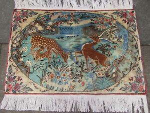 Vintage-Traditional-Hand-Made-Oriental-Wool-Blue-Small-Pictorial-Rug-61x93cm